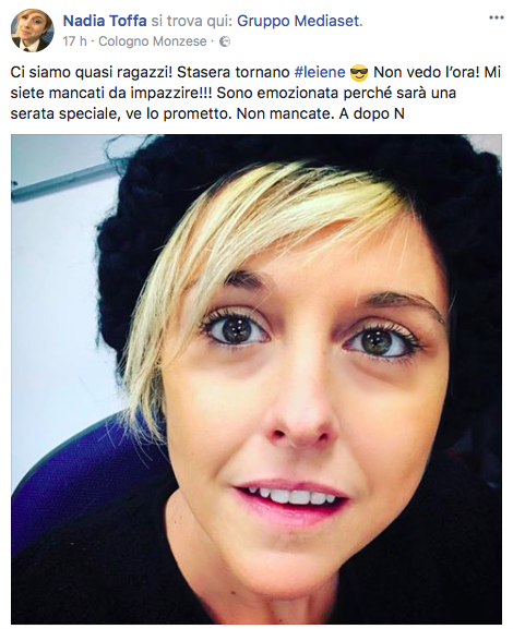 Il post di Nadia Toffa su Facebook